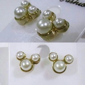 Mickey Mouse Stud Earrings Faux Pearls